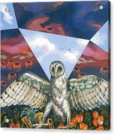 Athena's Owl Acrylic Print by Kyra Belan