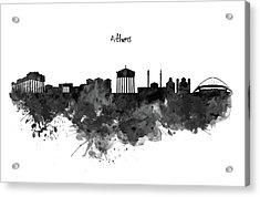 Athens Black And White Skyline Acrylic Print