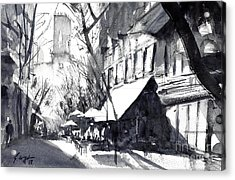 Athens Morning Walk Mono Acrylic Print
