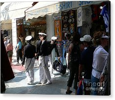 Athens Sailors Acrylic Print by David Bearden