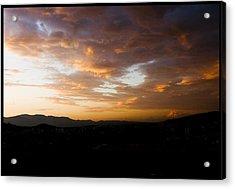 Athens Sunset Acrylic Print by Julia Bridget Hayes