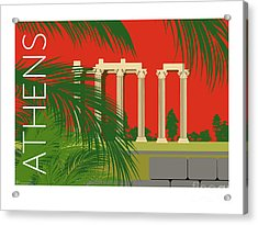 Athens Temple Of Olympian Zeus - Orange Acrylic Print