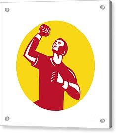 Athlete Fist Pump Circle Retro Acrylic Print by Aloysius Patrimonio