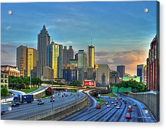Acrylic Print featuring the photograph Atlanta Coca-cola Sunset Reflections Art by Reid Callaway
