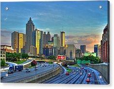 Atlanta Coca-cola Sunset Reflections Art Acrylic Print