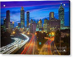 Atlanta Downtown By Night Acrylic Print by Inge Johnsson