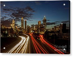 Acrylic Print featuring the photograph Atlanta Downtown Infusion Atlanta Sunset Cityscapes Art by Reid Callaway