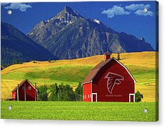 Acrylic Print featuring the photograph Atlanta Falcons Barn by Movie Poster Prints