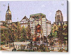 Atlanta Georgia Usa - Color Pencil Acrylic Print