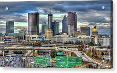 Acrylic Print featuring the photograph Atlanta Moving On Skyline Cityscape Art by Reid Callaway