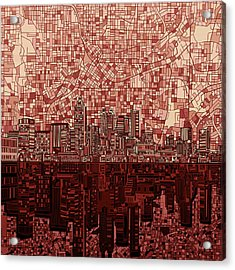 Atlanta Skyline Abstract Deep Red Acrylic Print