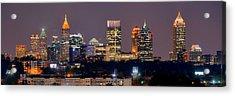 Atlanta Skyline At Night Downtown Midtown Color Panorama Acrylic Print