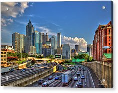 Acrylic Print featuring the photograph Atlanta The Capital Of The South Cityscapes Sunset Reflections Art by Reid Callaway