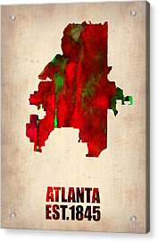 Atlanta Watercolor Map Acrylic Print by Naxart Studio