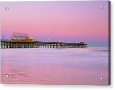 Acrylic Print featuring the photograph Atlantic Ocean And The Apache Pier At Sunset In South Carolina by Ranjay Mitra