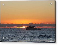 Atlantic Ocean Fishing At Sunrise Acrylic Print