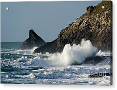 Atlantic Splash Acrylic Print by Steev Stamford