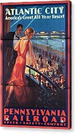 Atlantinc City - America's Great All Year Resort - Vintage Poster Folded Acrylic Print