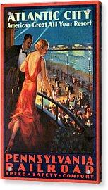 Atlantinc City - America's Great All Year Resort - Vintage Poster Vintagelized Acrylic Print
