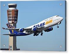 Atlas Air Boeing 747-446 N465mc Phoenix Sky Harbor January 12 2015 Acrylic Print by Brian Lockett