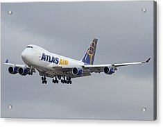 Atlas Air Boeing 747-47uf N415mc Phoenix Sky Harbor December 23 2015  Acrylic Print by Brian Lockett