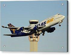 Atlas Boeing 747-446 N465mc Phoenix Sky Harbor January 3 2015 Acrylic Print by Brian Lockett