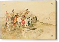 Attack On The Muleteers Acrylic Print by Charles Marion Russell