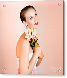 Attractive Brunette Dreams Of Romance Acrylic Print by Jorgo Photography - Wall Art Gallery