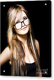 Attractive Business Woman On Black Background Acrylic Print by Jorgo Photography - Wall Art Gallery