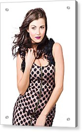 Attractive Vogue Fashion Model With Windblown Hair Acrylic Print