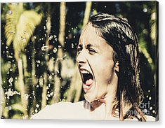 Attractive Woman At Play In Tropical Water Fall Acrylic Print