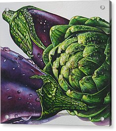 Aubergines And An Artichoke Acrylic Print by Tracy Male
