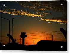 Auckland Airport Sunrise Acrylic Print by Chris Hung