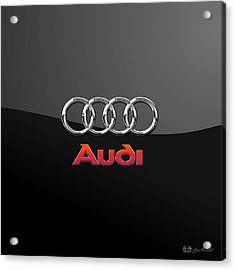Audi 3 D Badge On Black Acrylic Print by Serge Averbukh
