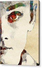 Audrey Half Face Portrait Acrylic Print by Mihaela Pater