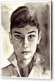 Audrey Hepburn Black And White Acrylic Print
