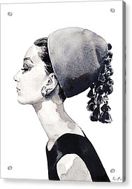 Audrey Hepburn For Vogue 1964 Couture Acrylic Print by Laura Row