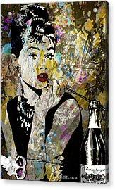 Audrey Hepburn Tribute  Acrylic Print by Angela Holmes