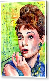 Audrey Hepburn Watercolor Acrylic Print