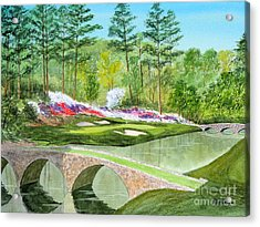 Augusta National Golf Course 12th Hole Acrylic Print by Bill Holkham