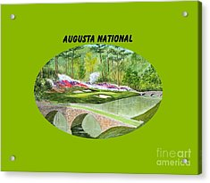 Augusta National Golf Course With Banner Acrylic Print by Bill Holkham