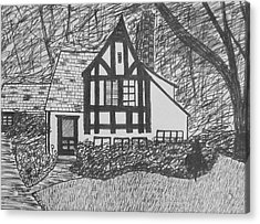 Acrylic Print featuring the drawing Aunt Vizy's House by Lenore Senior