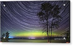 Aurora And Star Trails Over Lake Simcoe Acrylic Print
