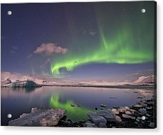 Acrylic Print featuring the photograph Aurora Borealis And Reflection #2 by Wanda Krack