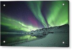 Aurora Borealis In Iceland Acrylic Print by Arnar B Gudjonsson