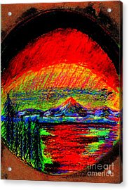 Acrylic Print featuring the painting Aurora Borealis Northern Lights by Richard W Linford