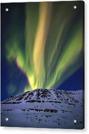 Aurora Borealis Over Toviktinden Acrylic Print by Arild Heitmann