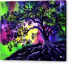 Aurora Borealis Tree Of Life Meditation Acrylic Print by Laura Iverson