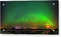 Aurora Over Pond Panorama Acrylic Print