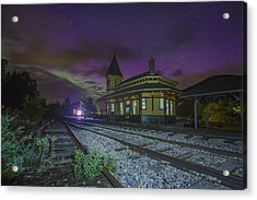 Aurora Over The Crawford Notch Depot Acrylic Print